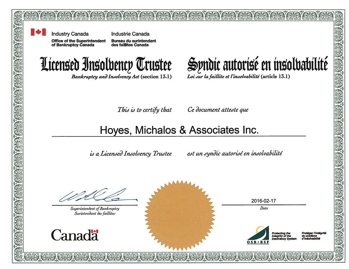 LIT Government Licensed Hoyes, Michalos & Associates Inc.